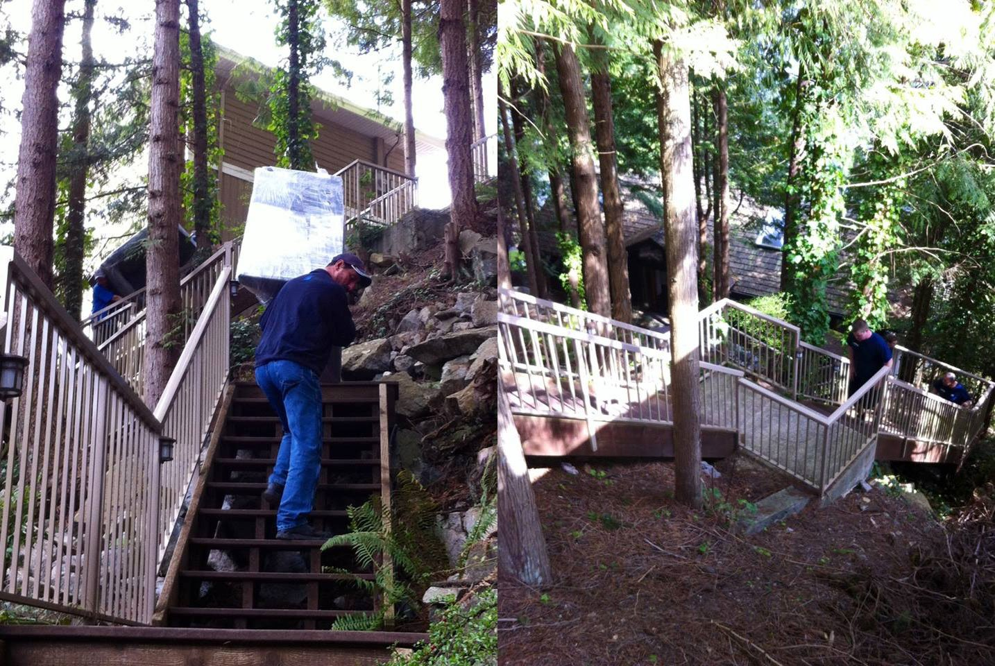 7 Movers, 2 Truck Loads of Furniture, 68 Stairs Down to a North Vancouver Waterfront Home