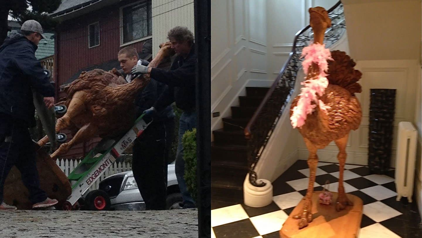 Edgemont Moving Delivers 8 Foot Wooden Easter Egg-Laying Ostrich